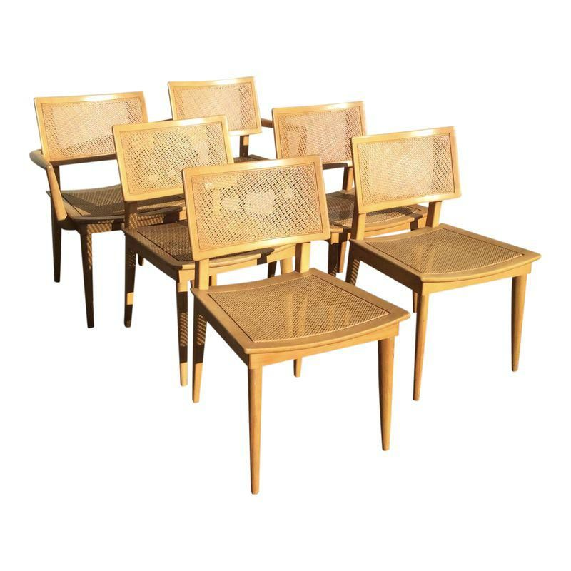 Heywood Wakefield Press Cane Weave Dining Chairs Set Of 6