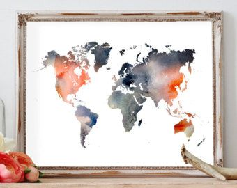 Blue watercolor world map wall art map print map art world map watercolor world map poster travel map wanderlust large world map wall art gumiabroncs Images