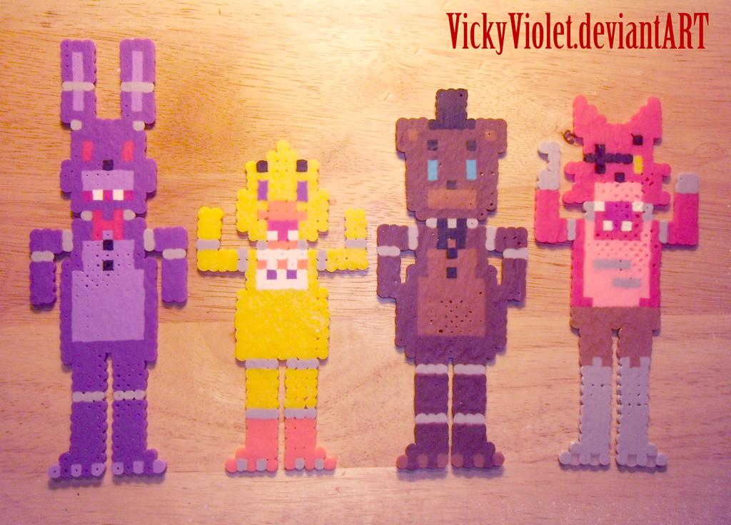 FNAF mini perlers by VickyViolet.deviantart.com on @DeviantArt Hama Bead
