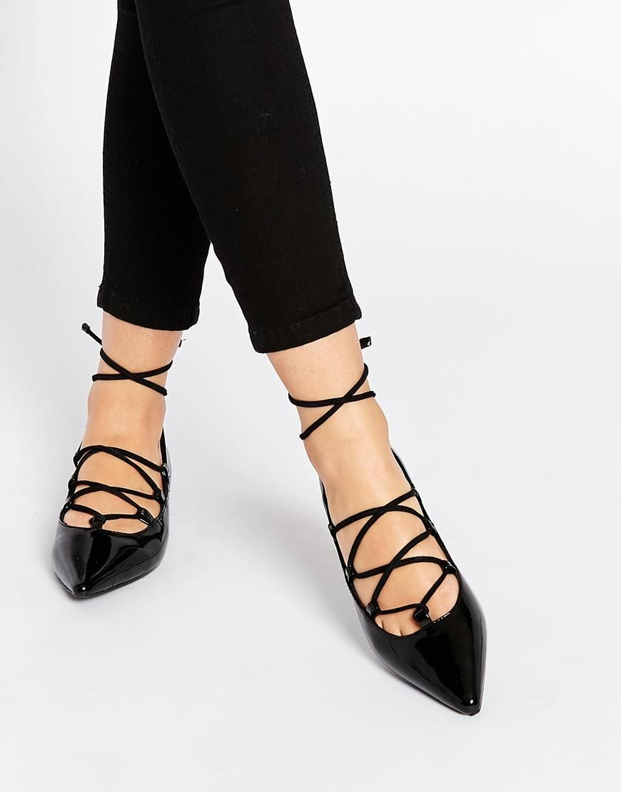 Buy Women Shoes / Senso Gia Iv Black Patent Ghillie Lace Up Flat Shoes