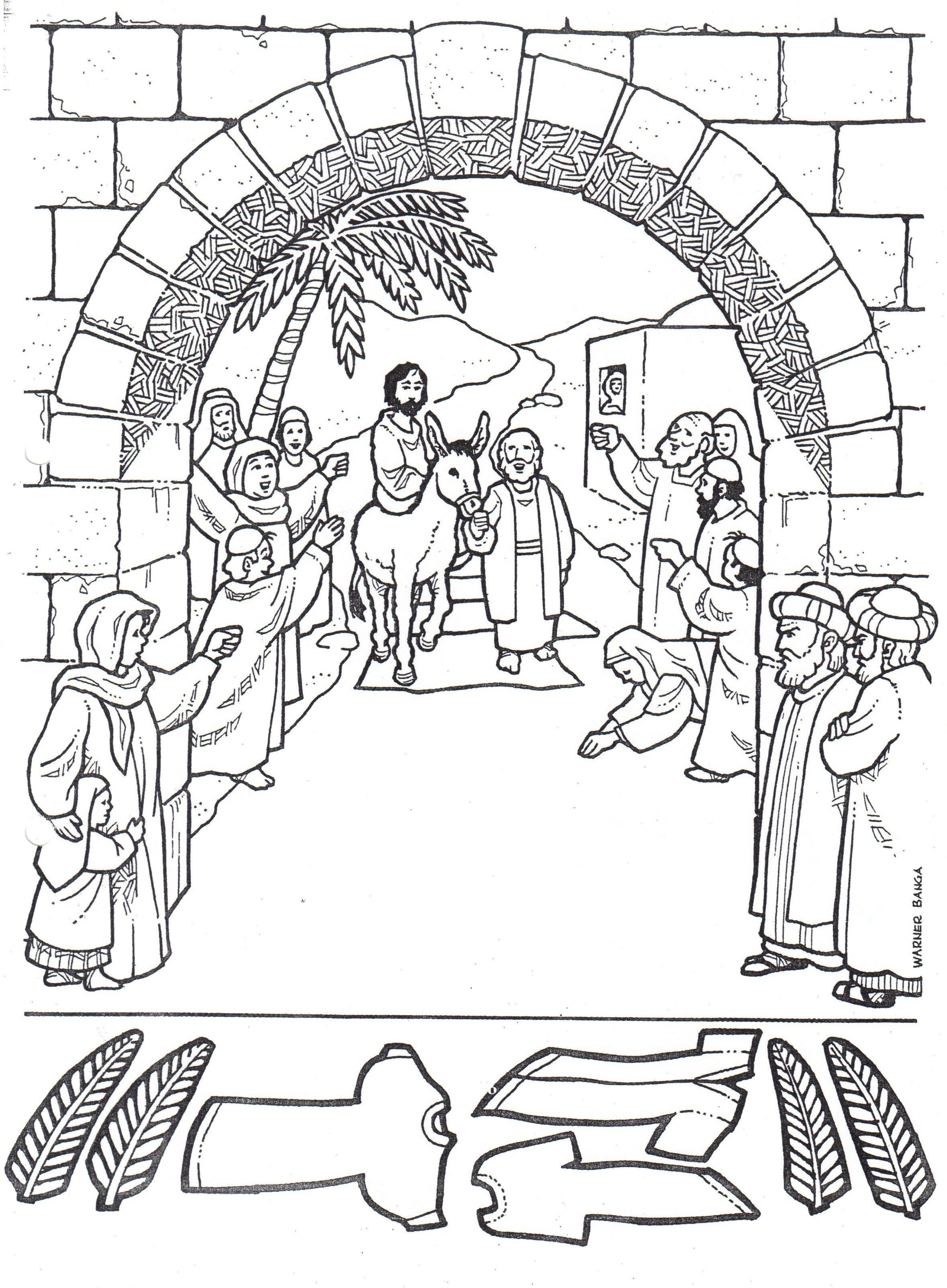 Jesus Enters Jerusalem In This Palm Sunday Coloring Page For