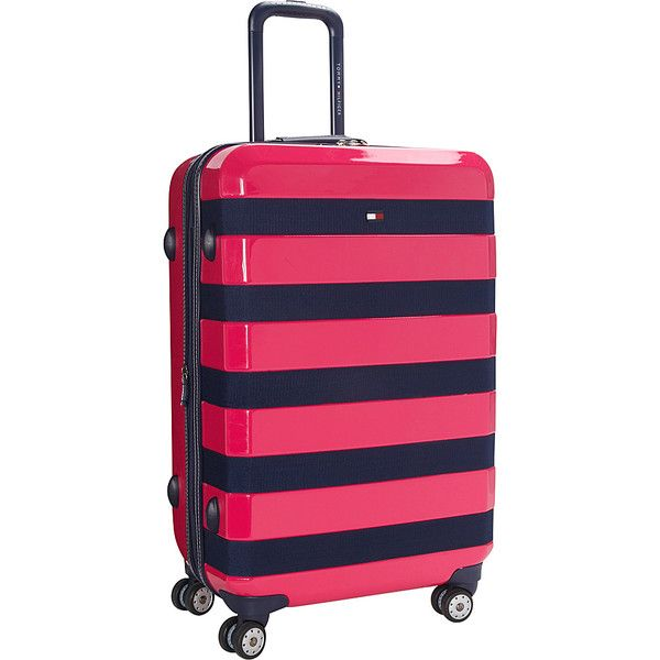 32b0771596b Tommy Hilfiger Luggage Rugby Stripe 24 Upright Hardside Spinner ( 144) ❤  liked on Polyvore featuring men s fashion