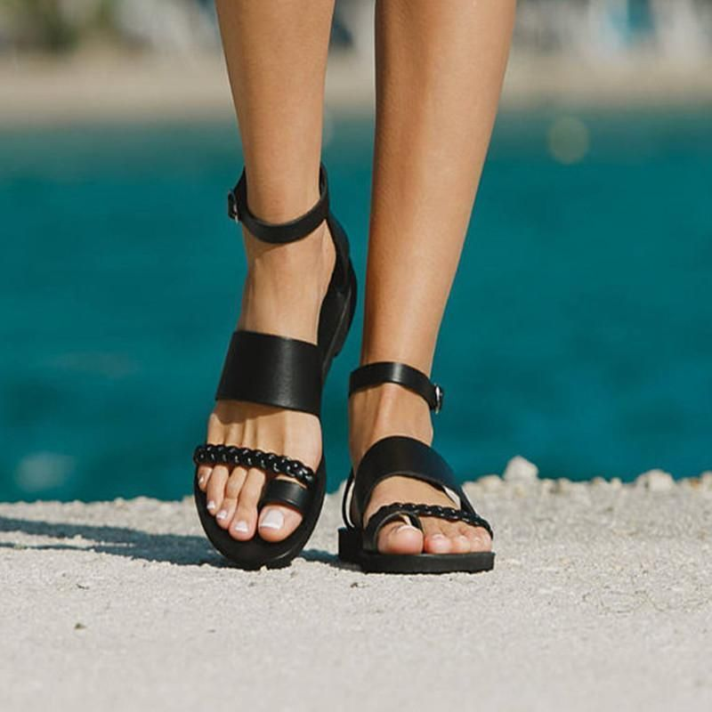Elastic Band Low Heels 0.8 Round Toe Outdoor Shoes Boho Summer Casual Beach PU Flats Womens Flat Sandals