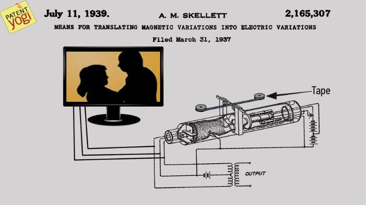 Patent no - US2165307 A,  Patent Title - Means for translating magnetic variations into electric variations, Filing date - 31 Mar 1937, Priority date - 31 Mar 1937,  Publication date - 11 Jul 1939,  Inventors - Albert M Skellett,  Original Assignee - Bell Telephone Labor Inc,  Abstract - his invention relates to means for transforming magnetic variations into electric variations and more specifically to means for reading a magnetic record upon which signals representative of the light-tone…