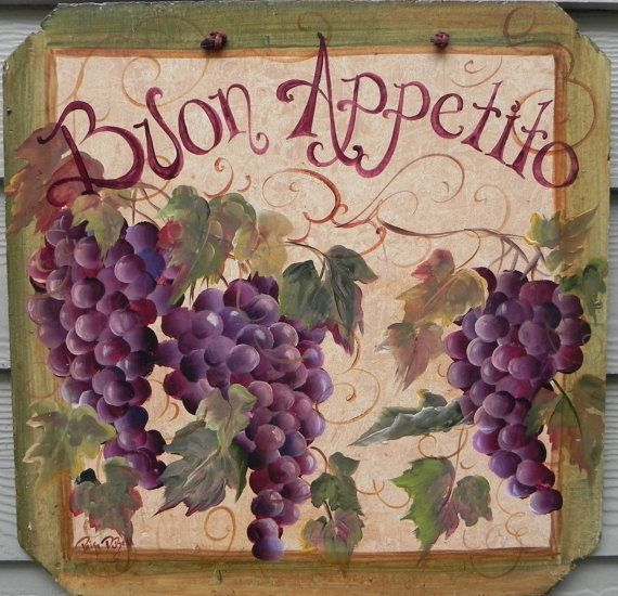 BUON APPETITO sign with GRAPES  large Hand by DancingBrushes, $59.00