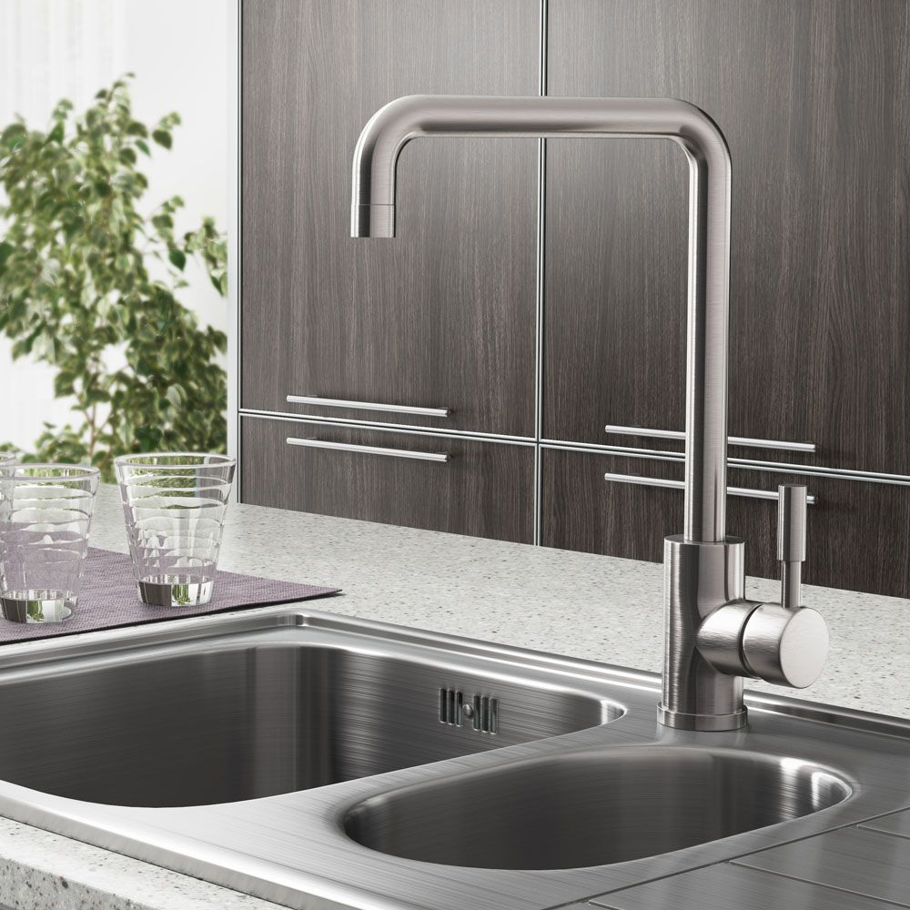 Edmonton Modern Brushed Stainless Steel Kitchen Mixer Tap