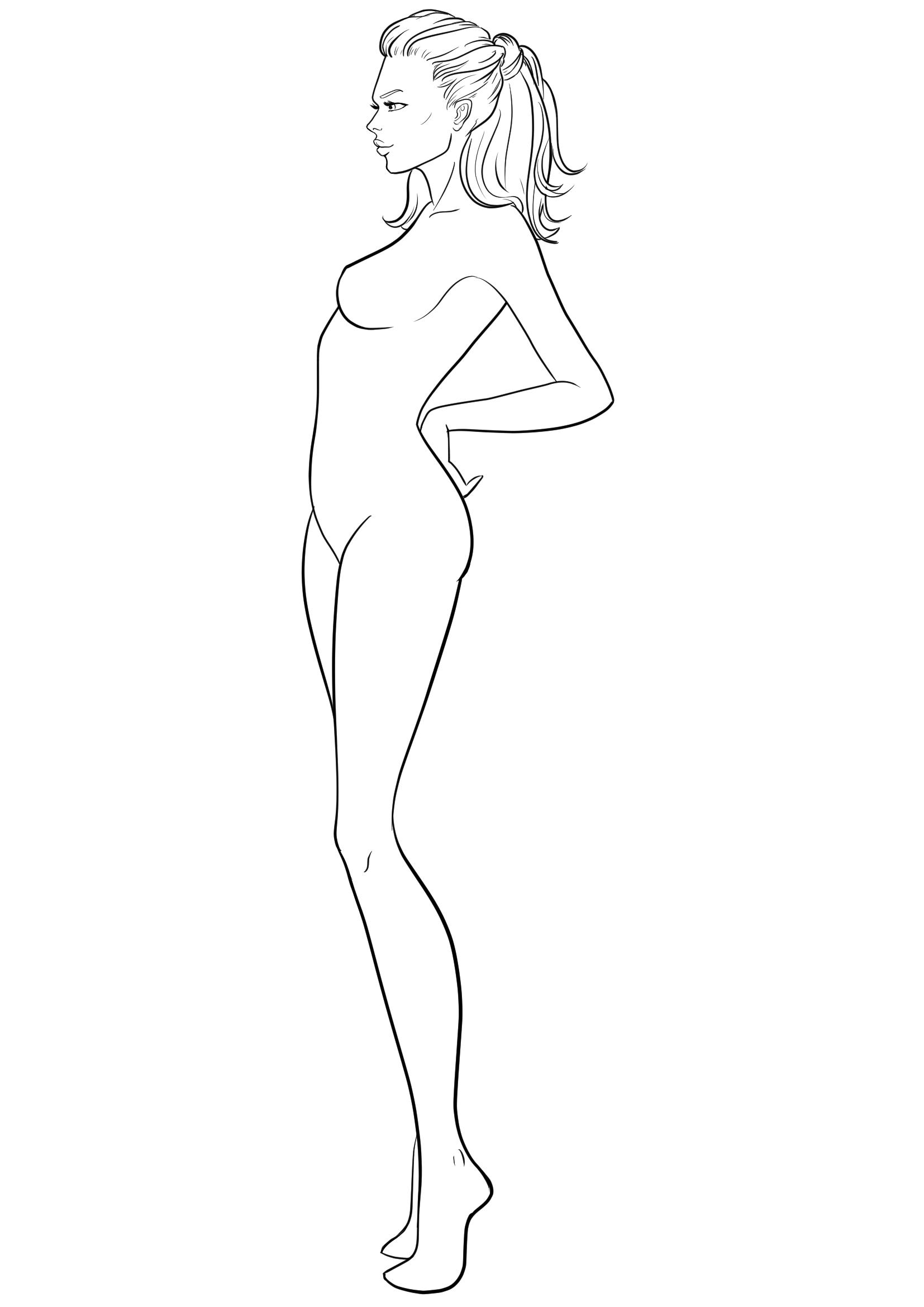 Tops fashion design sketches flat fashion sketch top 045 - Figure Template 38 I Draw Fashion Blank Body Template For Fashion Design Drawing