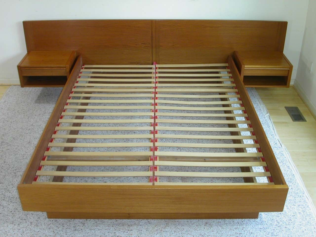 Queen Danish Modern Teak Platform Bed by Jesper Attached