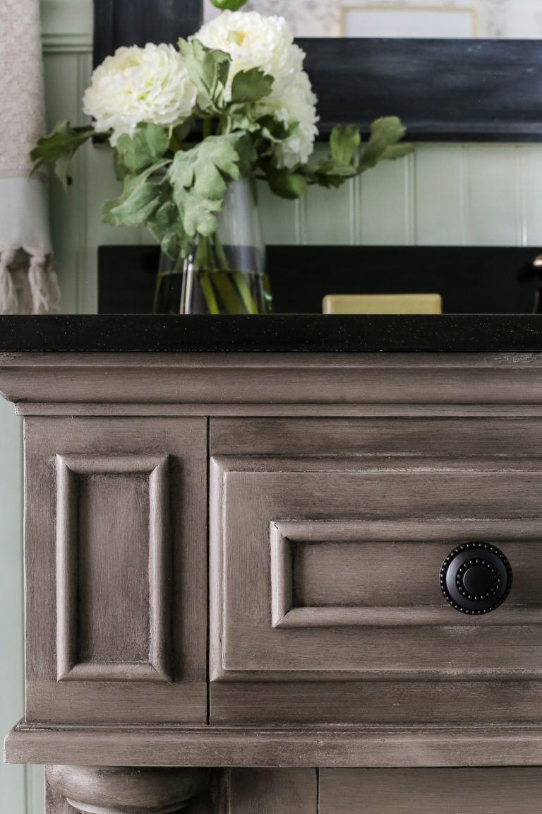 Weathered Gray Wood Look Vanity Makeover Weathered Furniture Painted Furniture Furniture Makeover [ 1152 x 768 Pixel ]