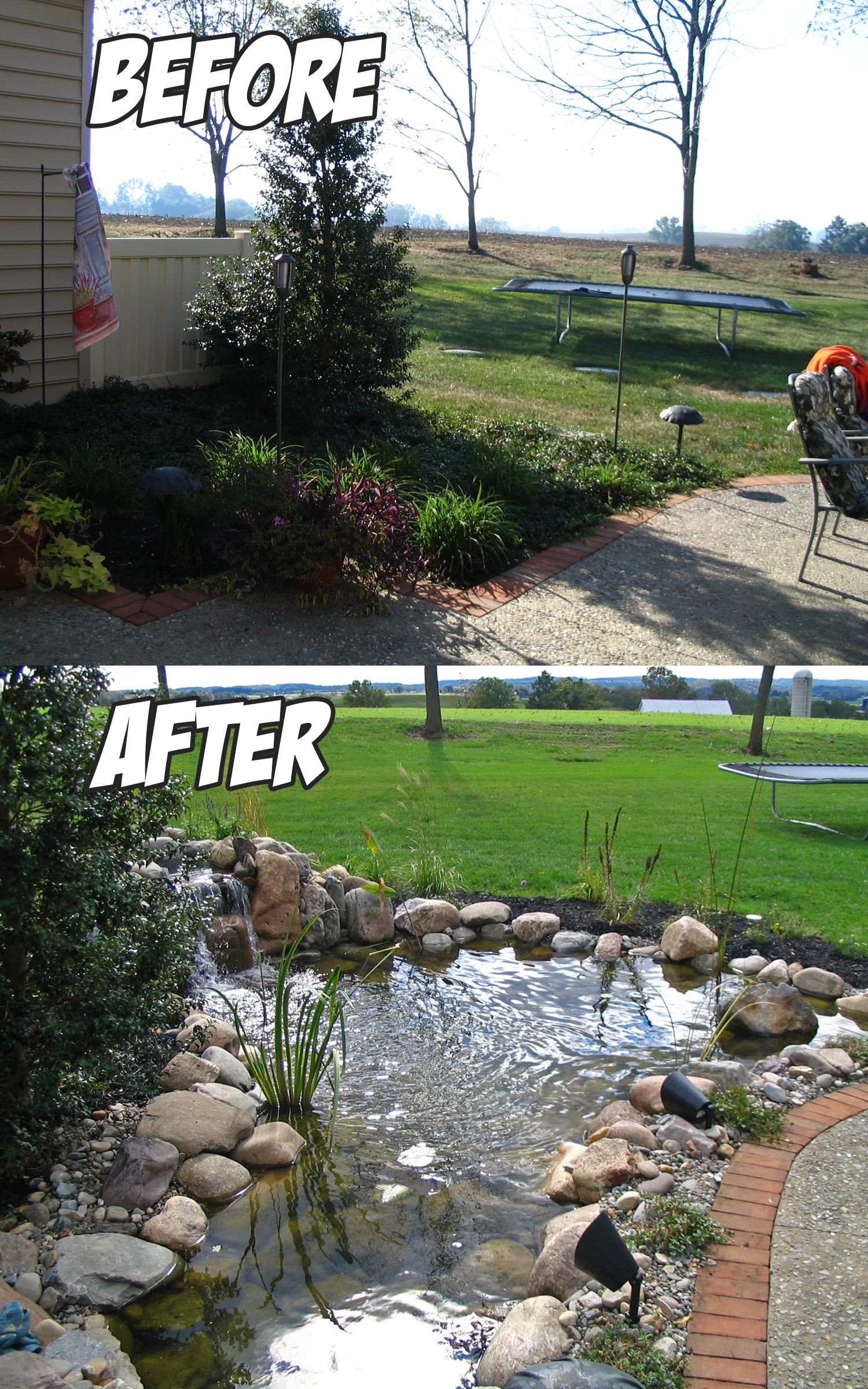 tbt throwbackthursday pond build before u0026 after water features