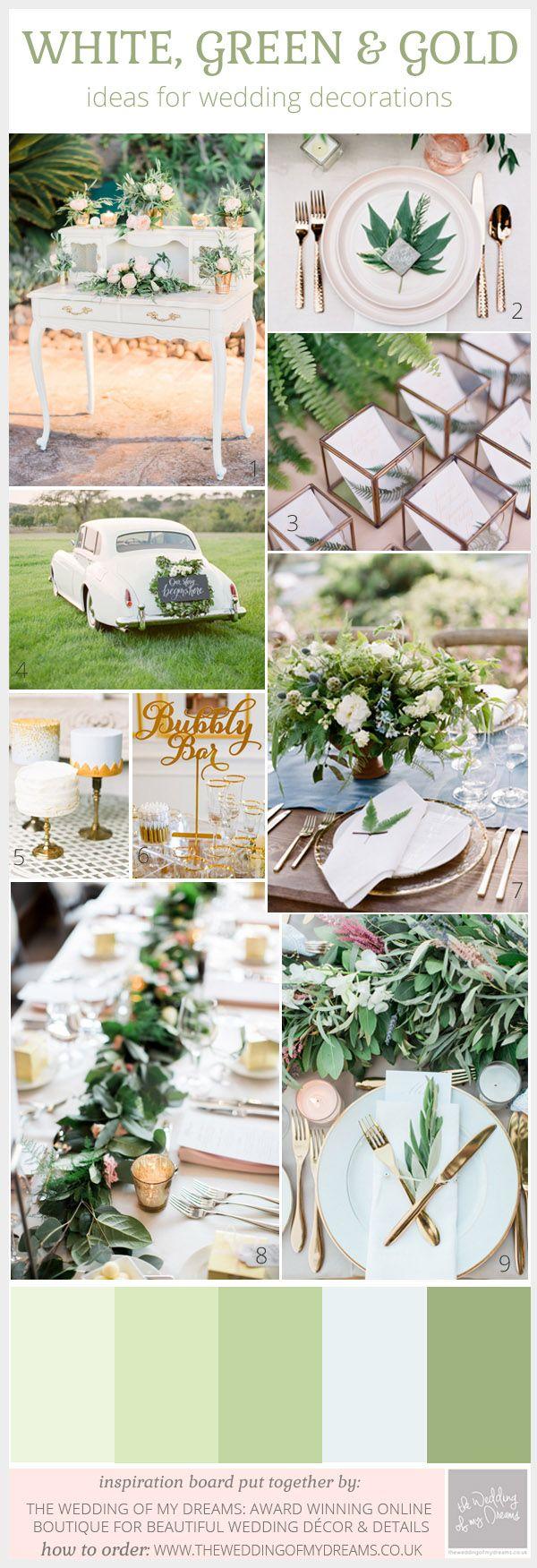 Green white and gold wedding ideas inspiration gold weddings green white and gold wedding ideas inspiration junglespirit Gallery