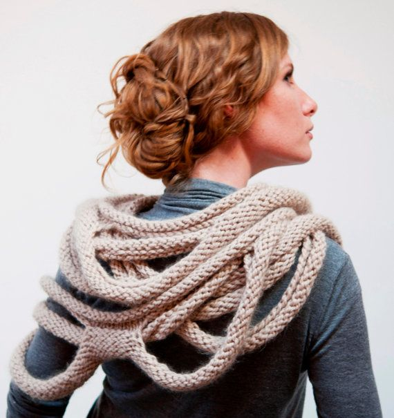 Medusa Loop Scarf - hand knitting pattern PDF