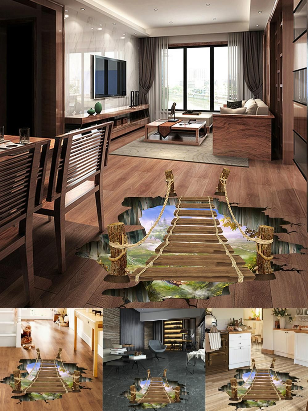 Visit To Buy 3d Bridge Floor Wall Stickers Removable Mural Decals