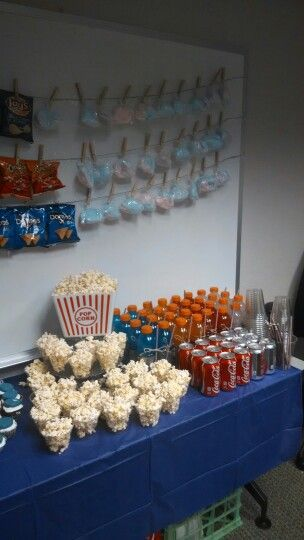 Using The Idea Of Levels To Display Popcorn Basketball Baby Shower, Work Baby  Shower, Concession Stand, Guys Baby Shower