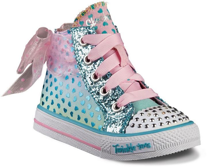 Skechers Twinkle Toes Shuffles Girls' High Top Light Up Sneakers