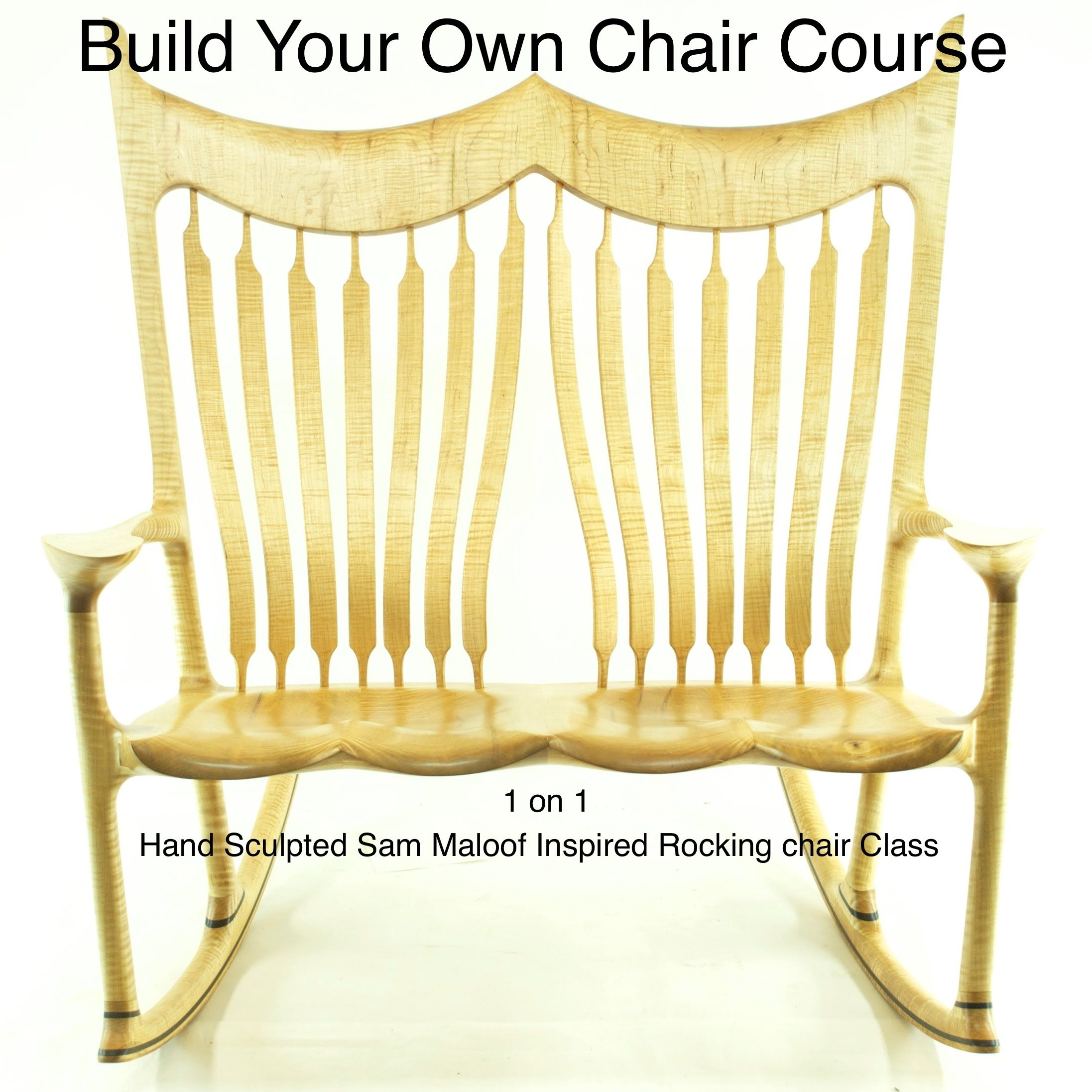 Build your own chair class Curly maple double rocking chair