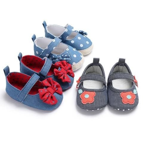 Mother & Kids First Walkers Toddler Baby Girl Shoes Soft Sole Dot Princess Shoes Butterfly-knot Baby Shoes Prewalkers First Walker