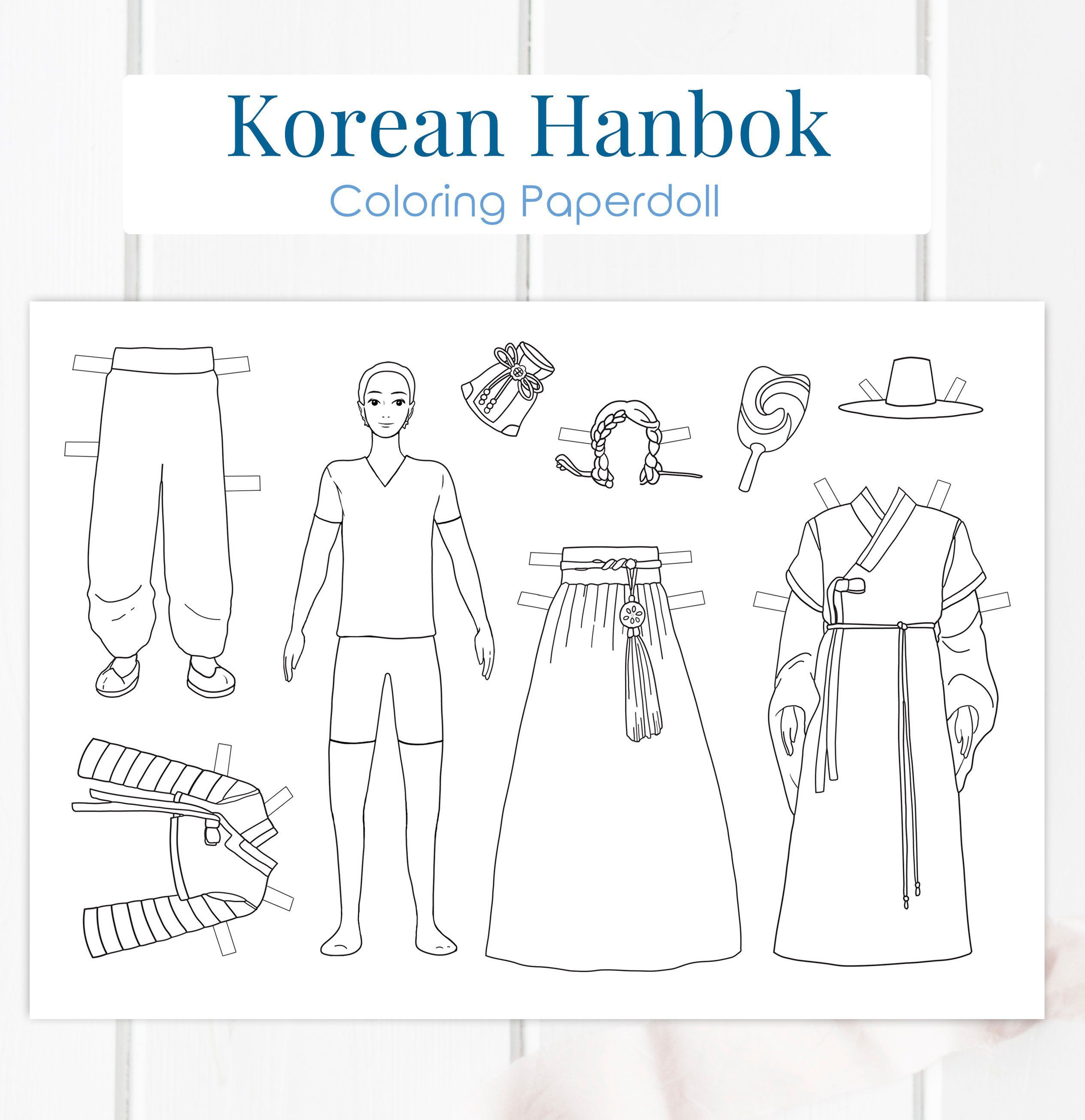A Korean Hanbok Paperdoll This Printable Paper Doll Is