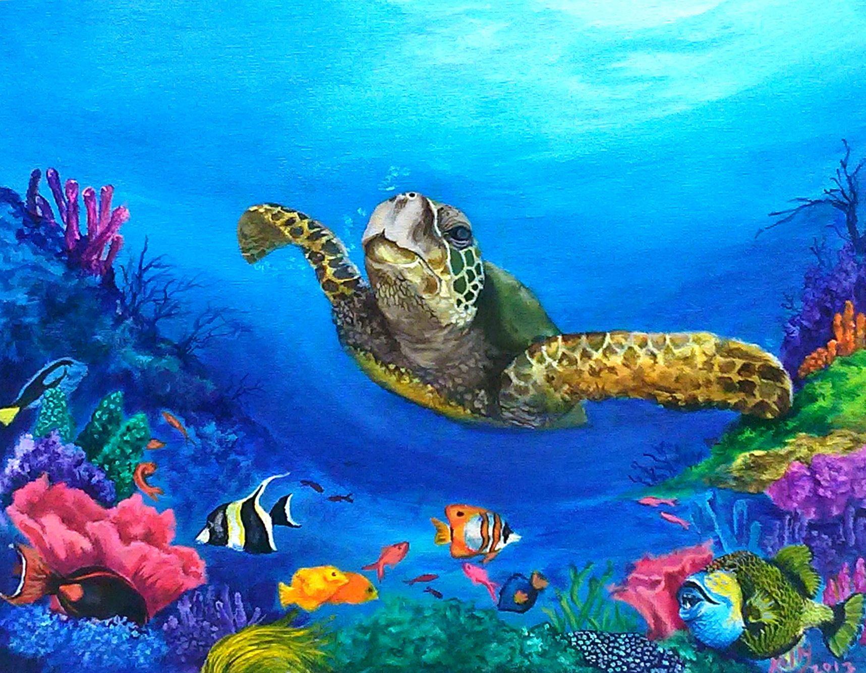 See the Sea Turtle | Ocean Life! in 2019 | Turtle painting ...
