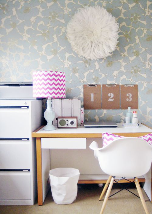 love this organized work space, a great home office for a small space, organized, and light, with light blue wallpaper and white accents #dream #divine #decor