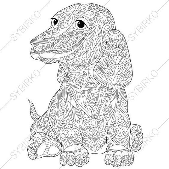 Adult Coloring Page Dachshund Dog Zentangle Doodle Pages For Adults Digital Illustration Instant Download Print