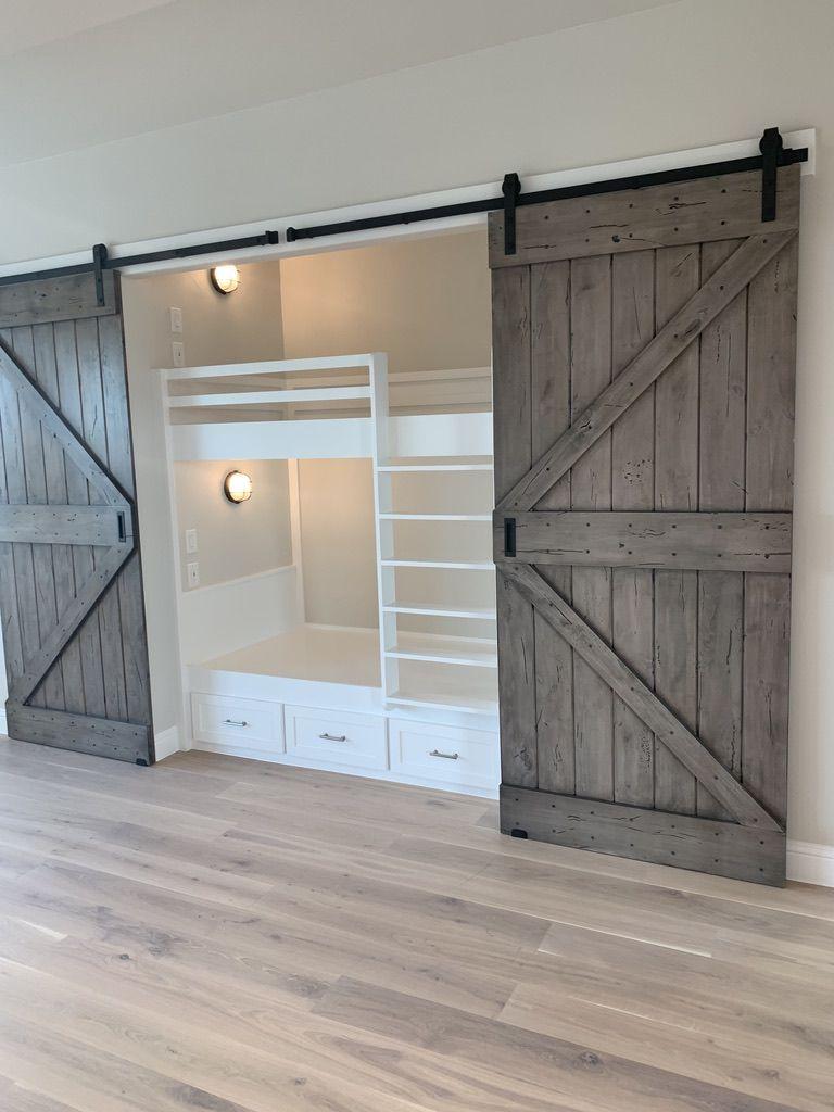 Barn Doors Open To Build In Bunk Beds Bunk Beds Built In Built In Bunks Bunk Beds