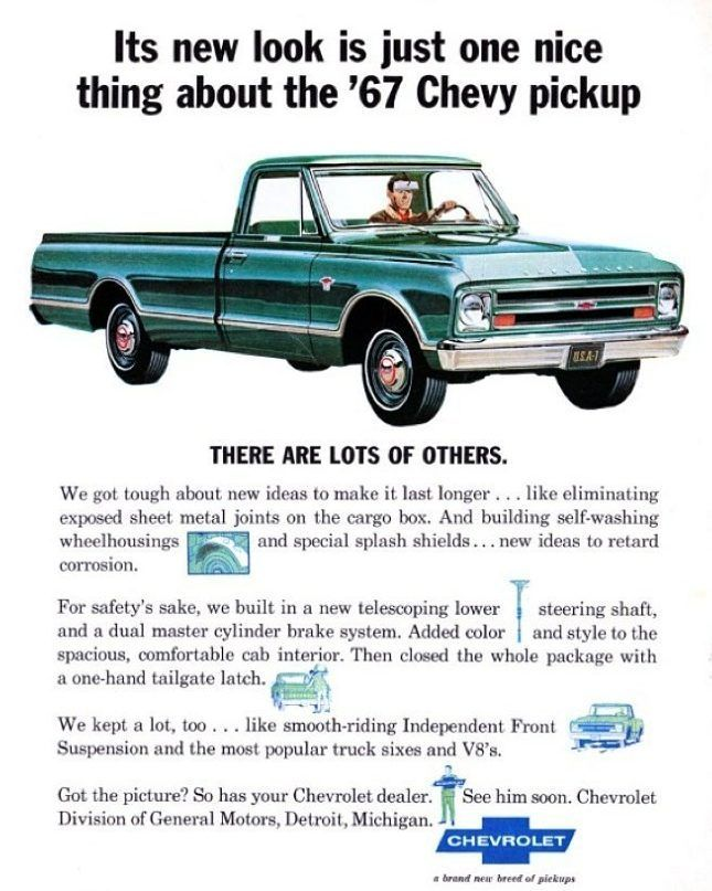 Tbt Vintage Chevrolet Ad For The New Look 1967 Trucks Chevrolet Chevy Gmc Classictruck Classic Vintage Chevy Pickups Trucks Print Chevy Pickup Trucks