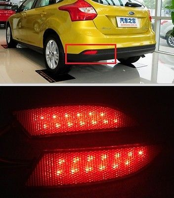 For Ford Focus 2012 2013 Red Lens Led Rear Bumper Reflector Light Lamp Ford Focus Ford Focus Sedan Lamp Light