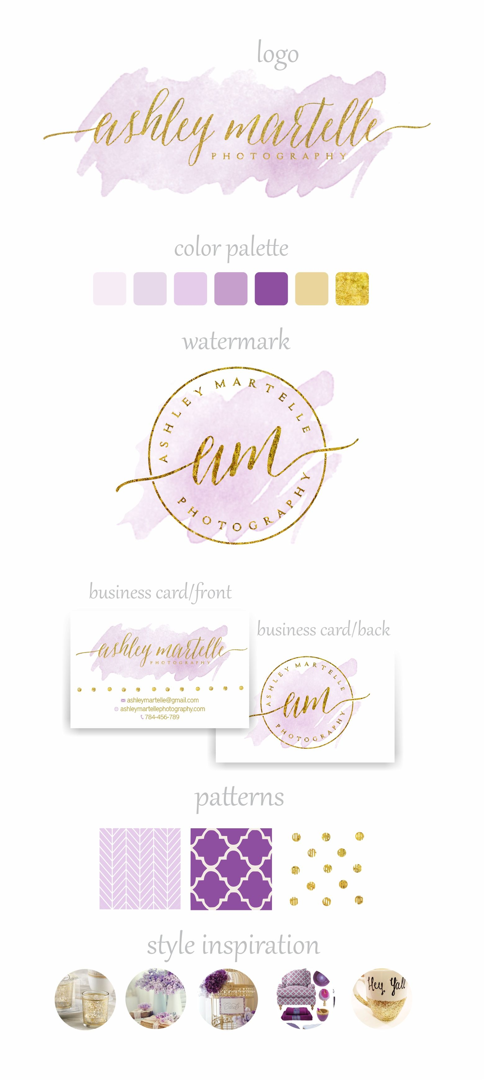 Branding Package - Watercolor branding - Gold and purple - Sparkle ...