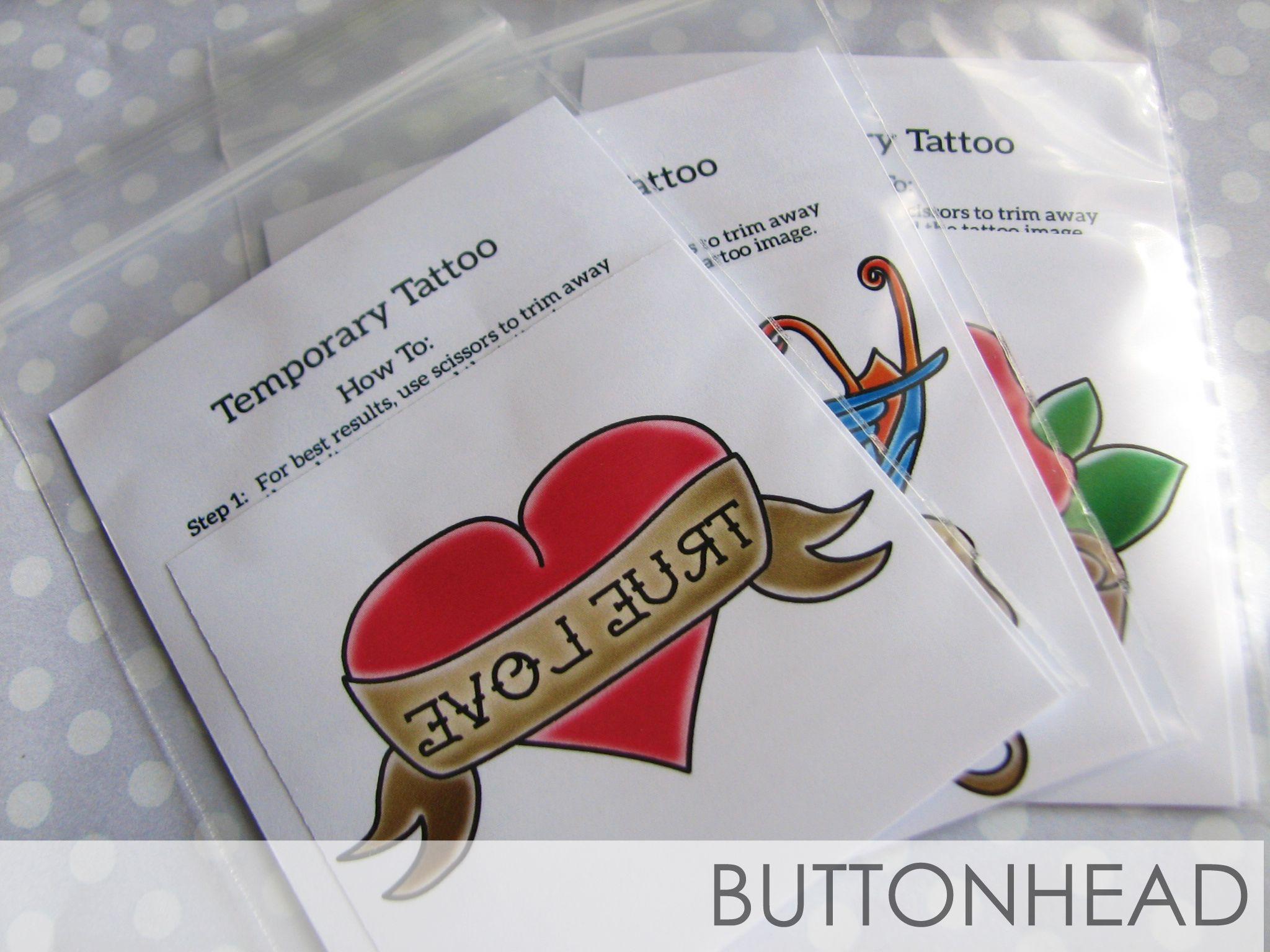 Rockabilly Wedding Favors • Buttonhead   Wedding Temporary Tattoos ...