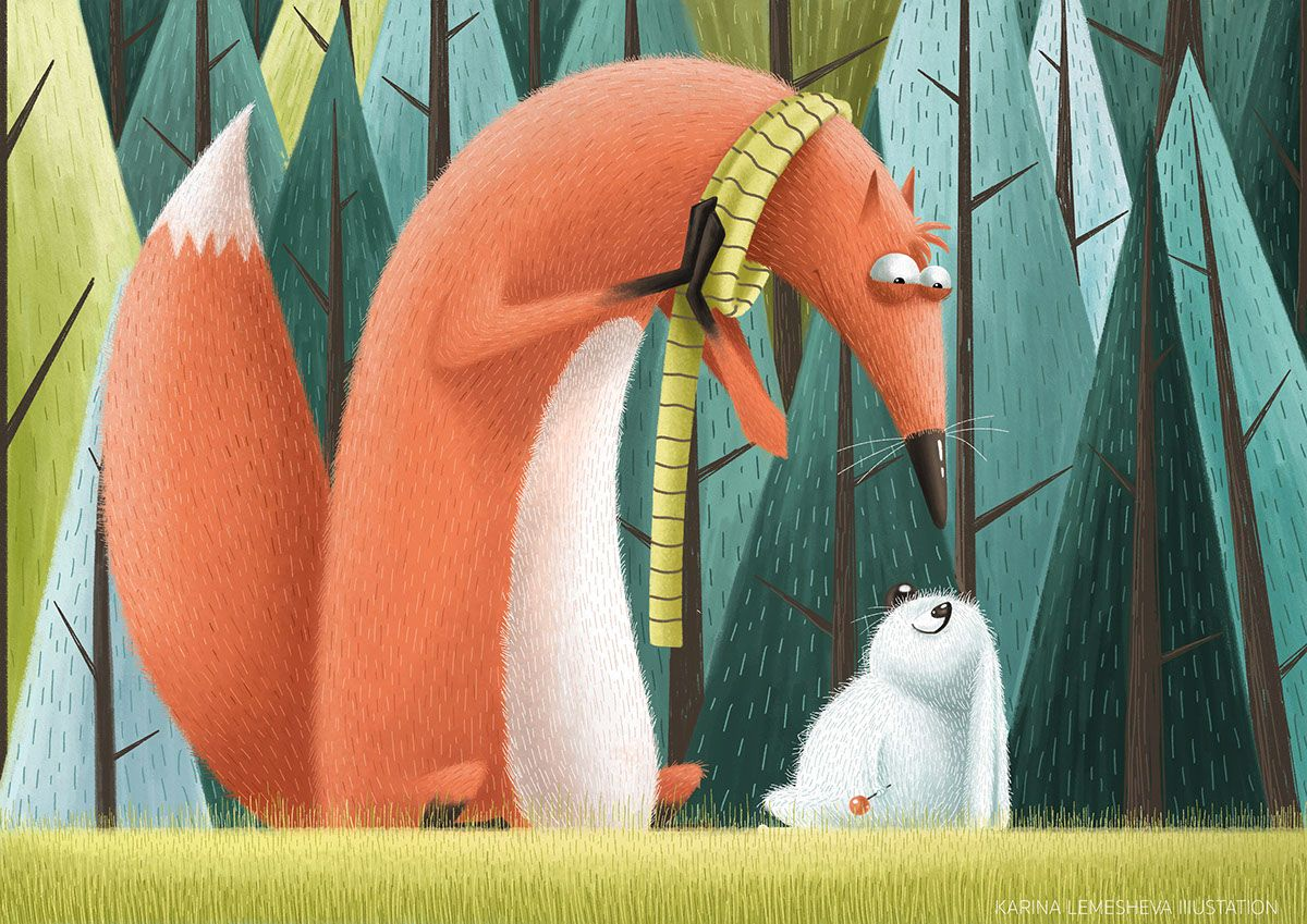 my new illustration about fox and rabbit