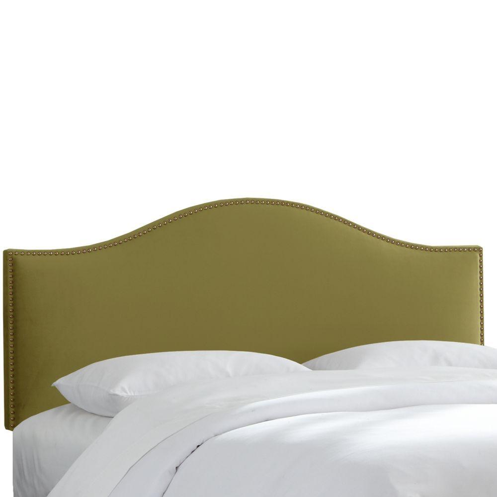 Tête de lit capitonnée taille King de couleur sauge en microsuède ...
