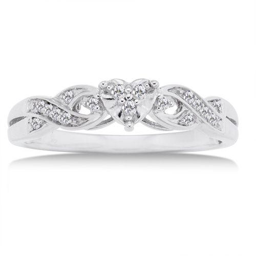 110 carat diamond 10kt white gold heart promise ring - Cheap Wedding Rings At Walmart
