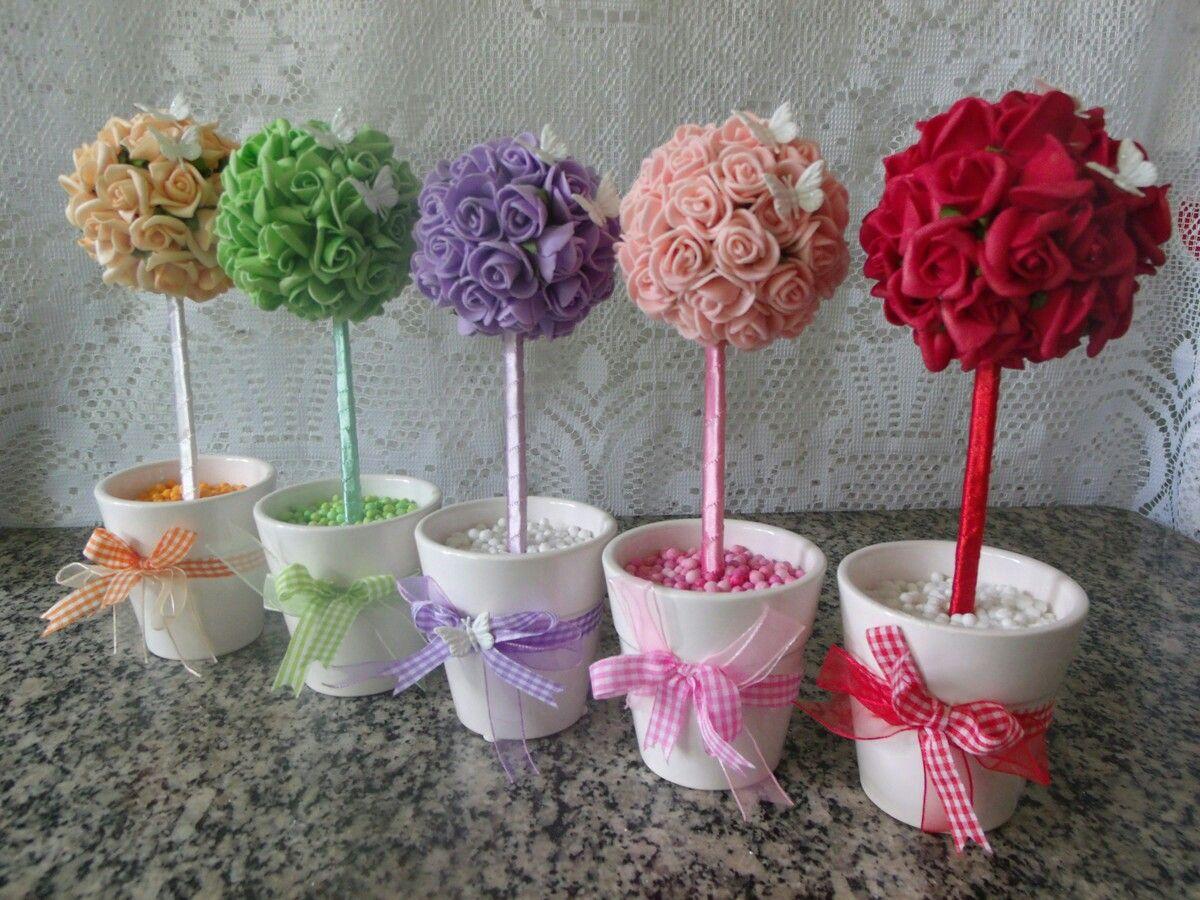Topiario | Manualidades, Centro de mesa bautizo, Decoración de flores de  papel