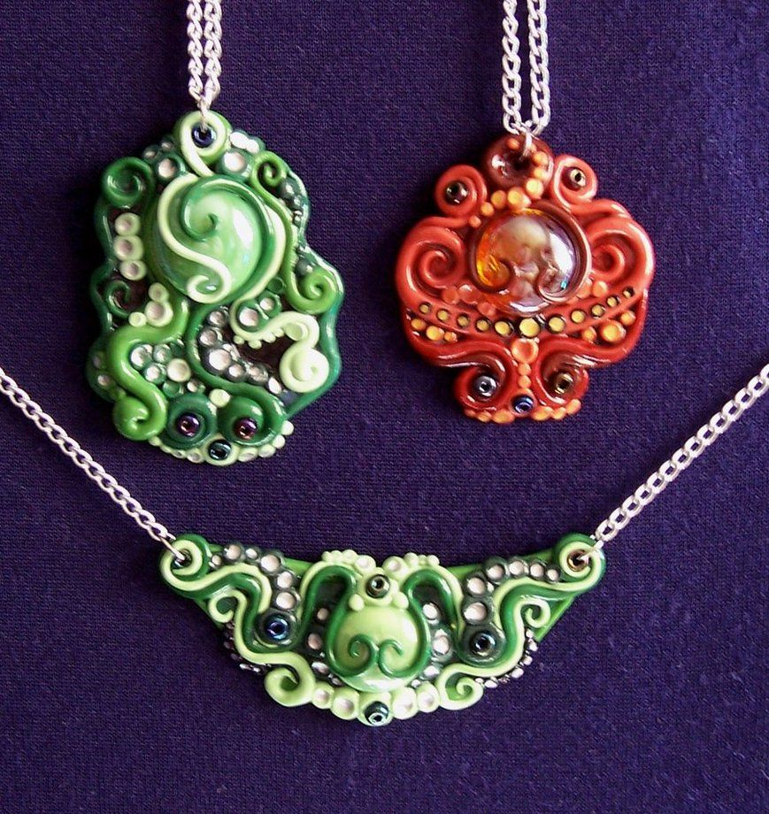 Polymer clay necklaces by ~Gimmeswords on deviantART