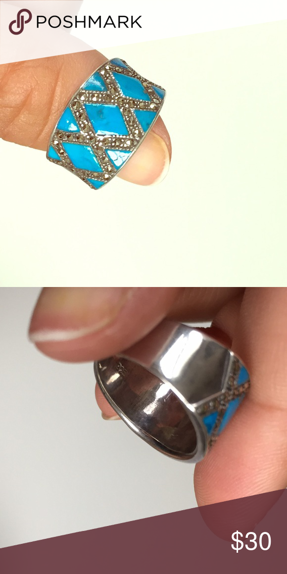 💍Silver and turquoise ring Real silver and turquoise ring size 6 Jewelry Rings