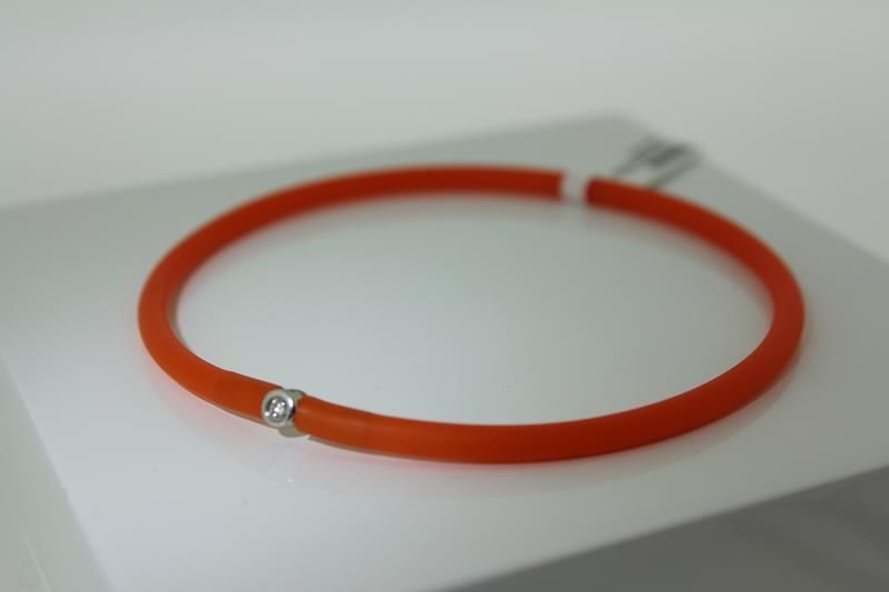 Stylish Orange My First Diamond Bracelet Incl Black As Bonus With Silver