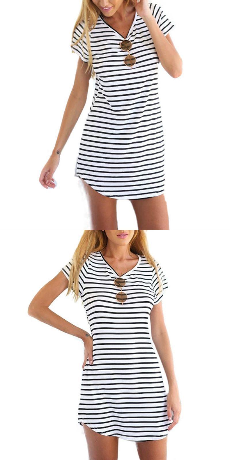 38c02152a769b6 Fashion vestidos women casual black white stripe summer dress short sleeve  o neck mini dress t shirt dress  428  cotton  casual  a-line  striped   short ...