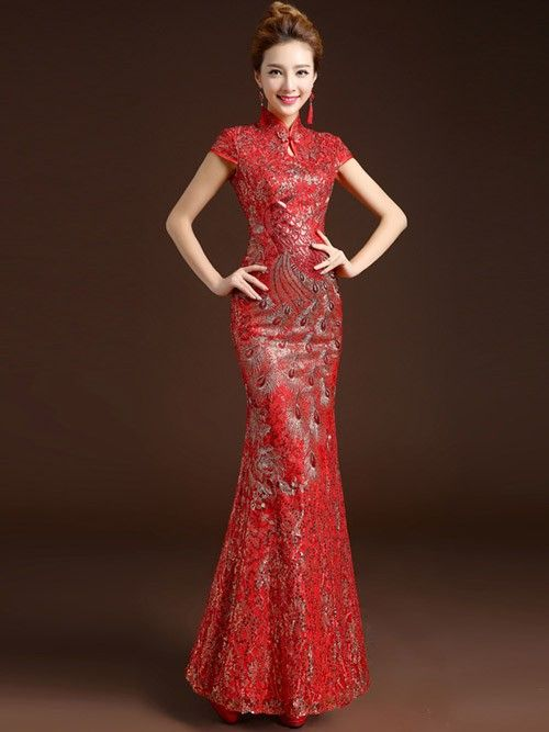Fishtail Sequins Qipao / Cheongsam Wedding Dress with Phoenix ...
