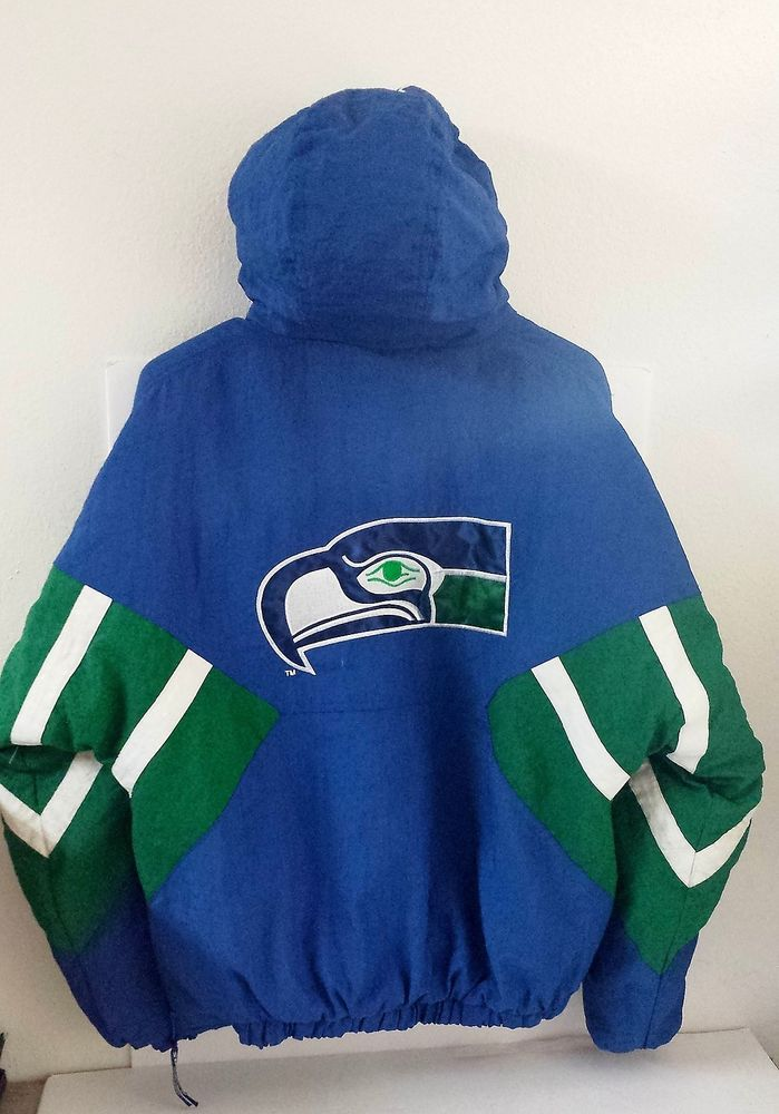 new concept 24735 79e05 VTG Starter SEATTLE SEAHAWKS 1/4 Zip Pullover Jacket Coat ...