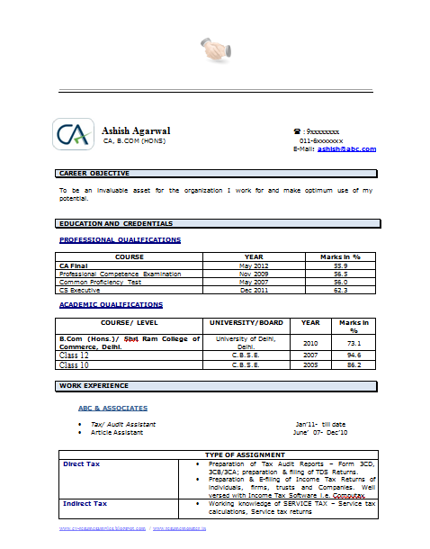 Example Template Of An Experienced Chartered Accountant Resume With Great  Job Profile And Career Objective,