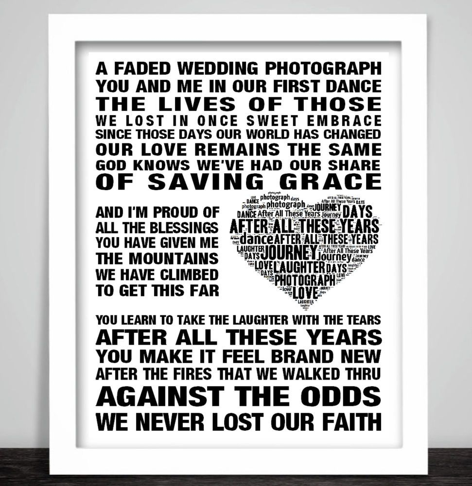 Journey After All These Years Music Song Lyric Art Print Wedding