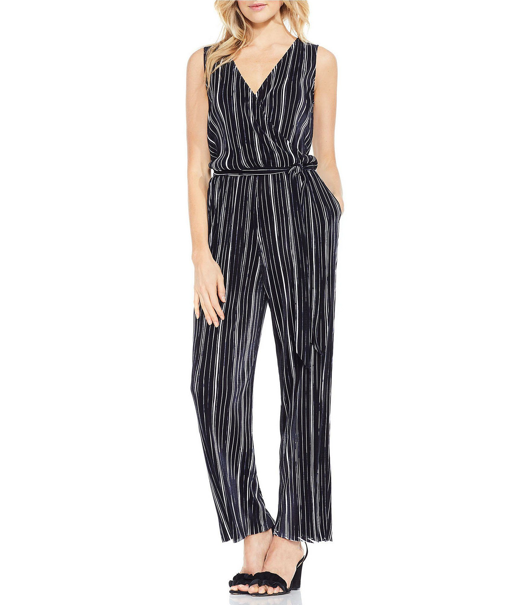 7f2f545a037a Vince Camuto Pleated Knit Belted Jumpsuit  Dillards