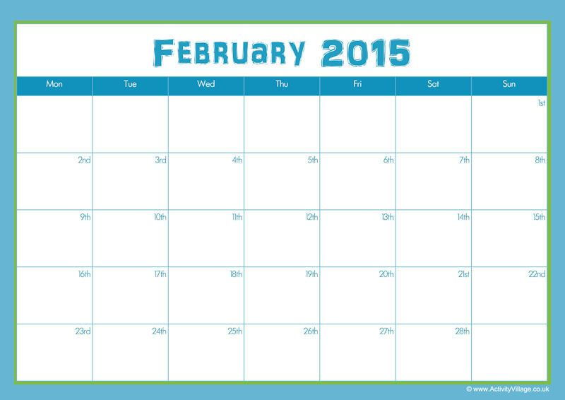 Download February 2015 Printable Calendar Template  Design Blank