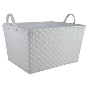 Large Woven Plastic Rectangular Storage Bin   White   Circo™
