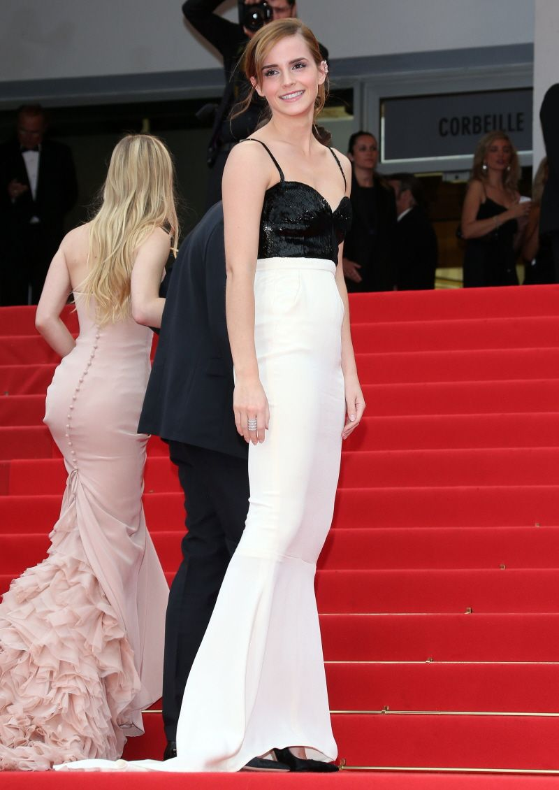 Pregnant wedding dress fail  Emma Watson in a black and white dress with embroidered top from the
