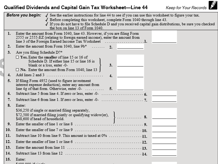 Irs Form 1040 Line 44 If You Have Qualified Dividends There Is