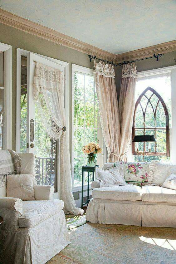 Couch And Curtains   Shabby Chic Living Sitting Room   Vintage Cathedral  Frame In The Window. Part 81