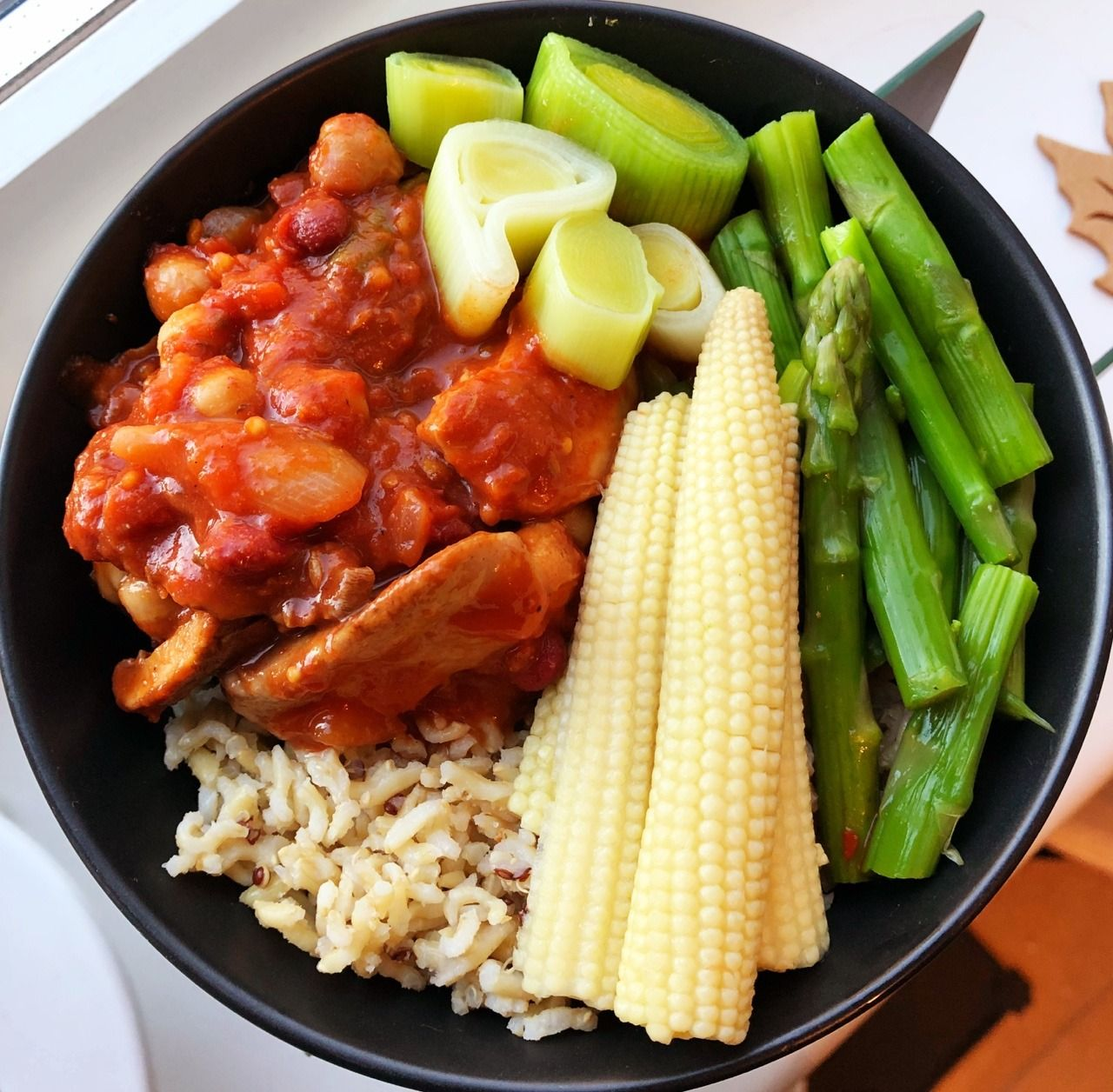 Hers sweet and sour chicken with brown rice and steamed