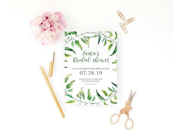 Bridal Shower Invitation Printable | Greenery Garden ...